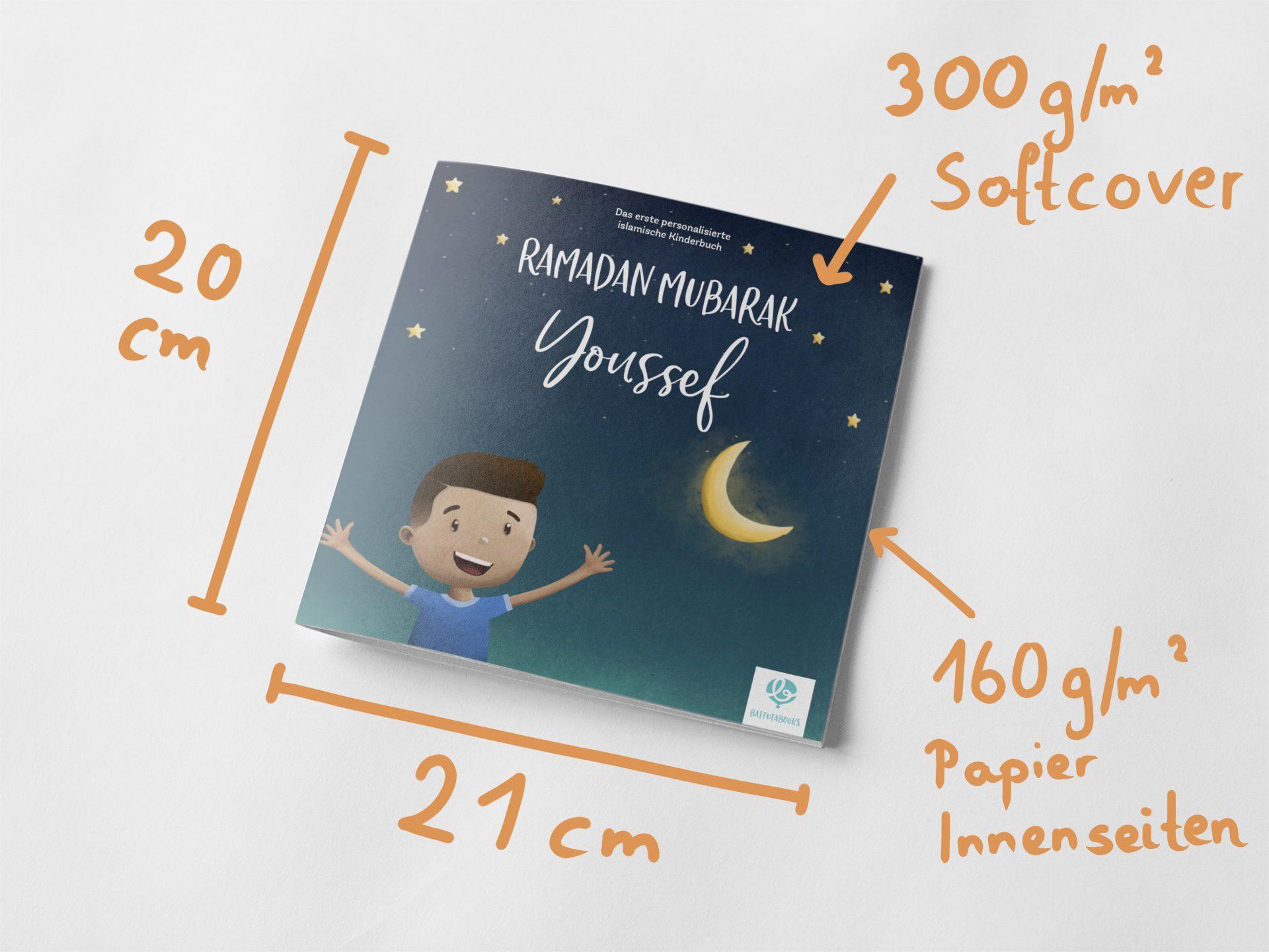 Das erste personalisierte islamische Kinderbuch auf Deutsch und die Maße und Informationen dazu